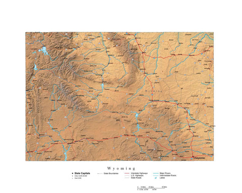 Digital Wyoming State Illustrator cut-out style vector with Terrain WY-USA-242029