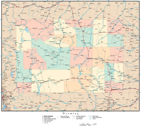 Wyoming Map with Counties, Cities, County Seats, Major Roads, Rivers and Lakes