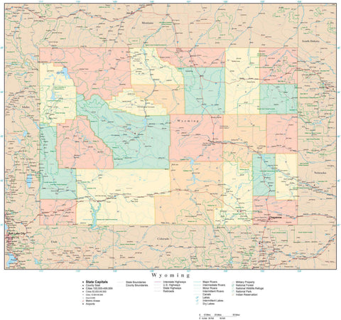 Detailed Wyoming Digital Map with Counties, Cities, Highways, Railroads, Airports, and more