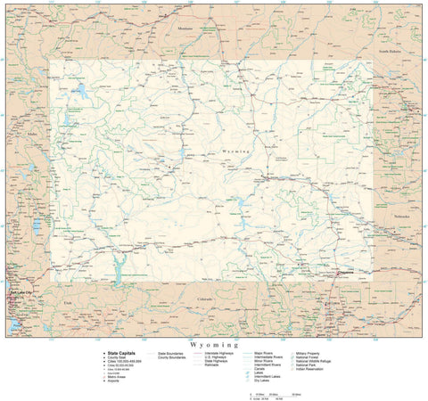Detailed Wyoming Digital Map with County Boundaries, Cities, Highways, and more