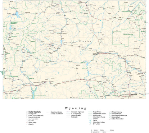 Detailed Wyoming Cut-Out Style Digital Map with County Boundaries, Cities, Highways, and more
