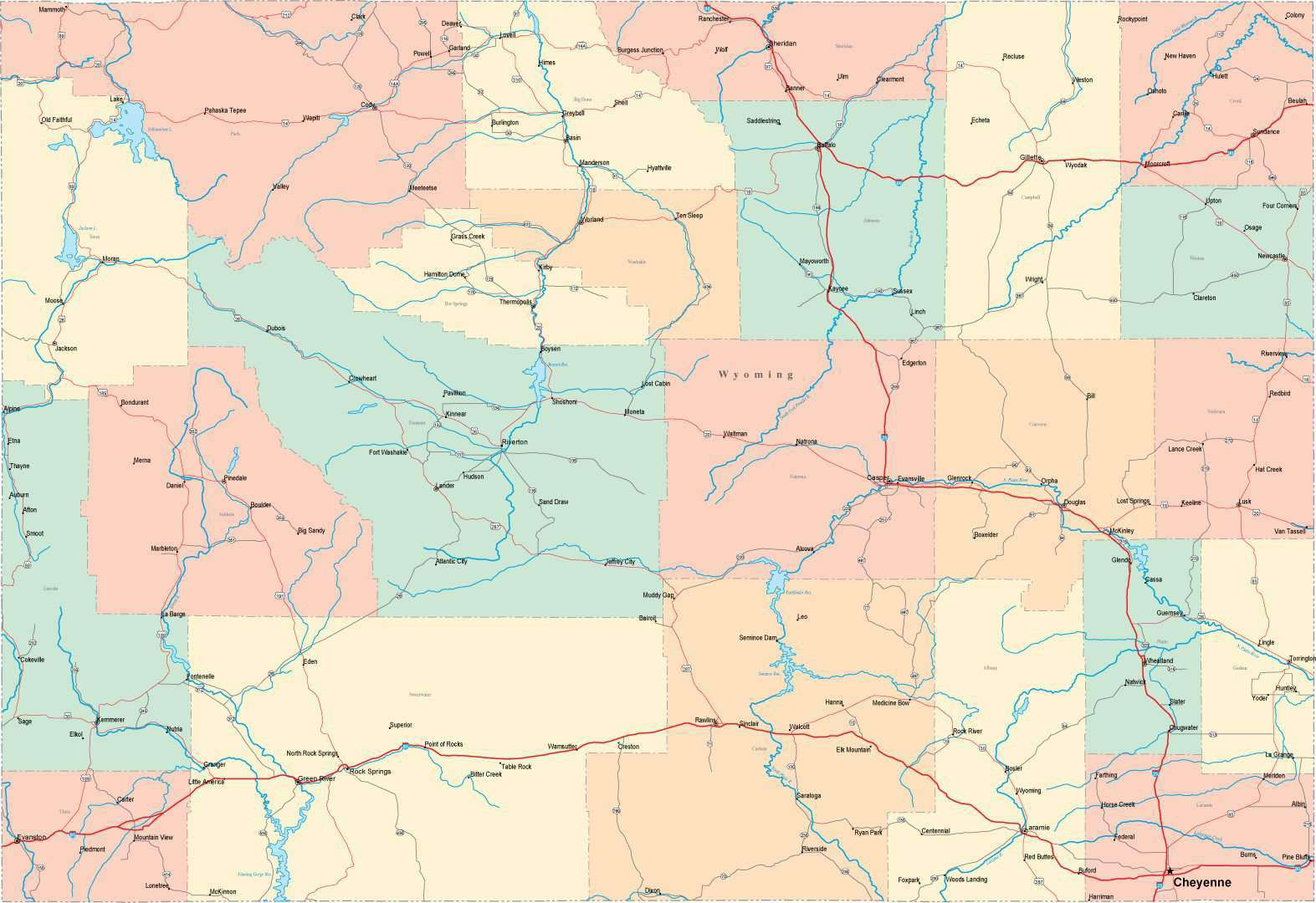 Digital Wyoming State Map in Multi-Color Fit-Together Style to match ...