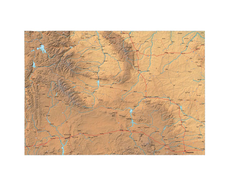Digital Wyoming map in Fit Together style with Terrain WY-USA-852137