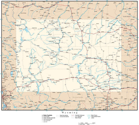Wyoming Map with Capital, County Boundaries, Cities, Roads, and Water Features