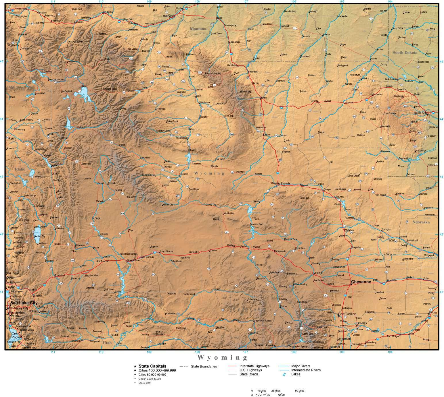 Wyoming State Map Plus Terrain With Cities Roads Map Resources