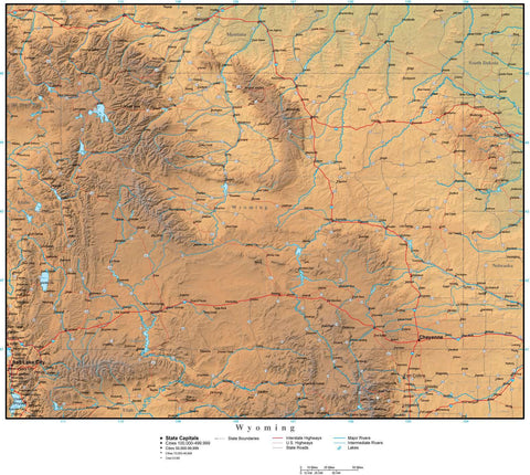 Digital Wyoming Terrain map in Adobe Illustrator vector format with Terrain WY-USA-942217