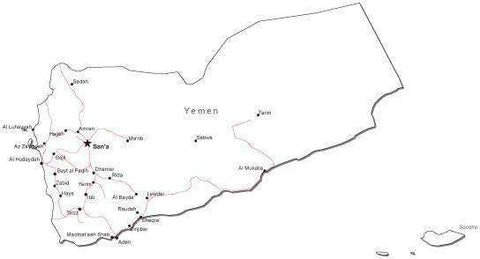 Yemen Black & White Map with Capital Major Cities and Roads