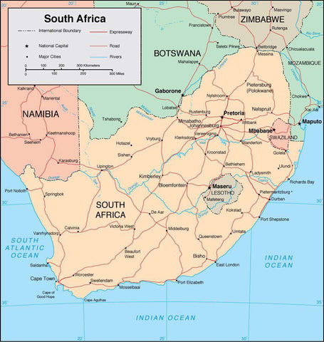 Digital South Africa map in Adobe Illustrator vector format