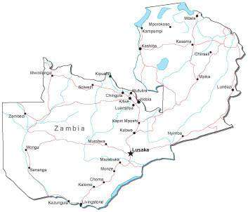 Zambia Black & White Map with Capital, Major Cities, Roads, and Water Features