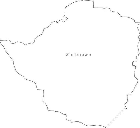 Digital Black & White Zimbabwe map in Adobe Illustrator EPS vector format