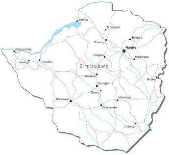 Zimbabwe Black & White Map with Capital, Major Cities, Roads, and Water Features
