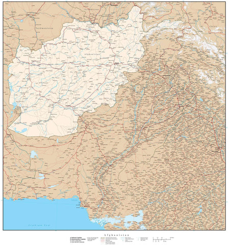 High Detail Afghanistan Map - 22 inches by 24 inches