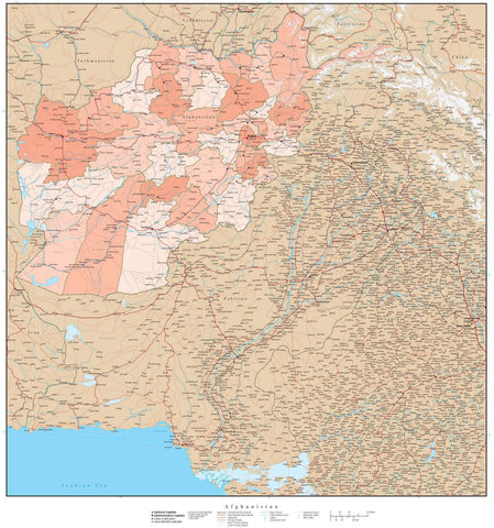 High Detail Afghanistan with Provinces Map - 22 inches by 24 inches