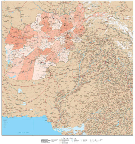 Afghanistan with Provinces & Districts Map