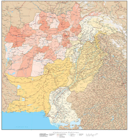 High Detail Afghanistan & Pakistan with Provinces Map - 22 inches by 24 inches