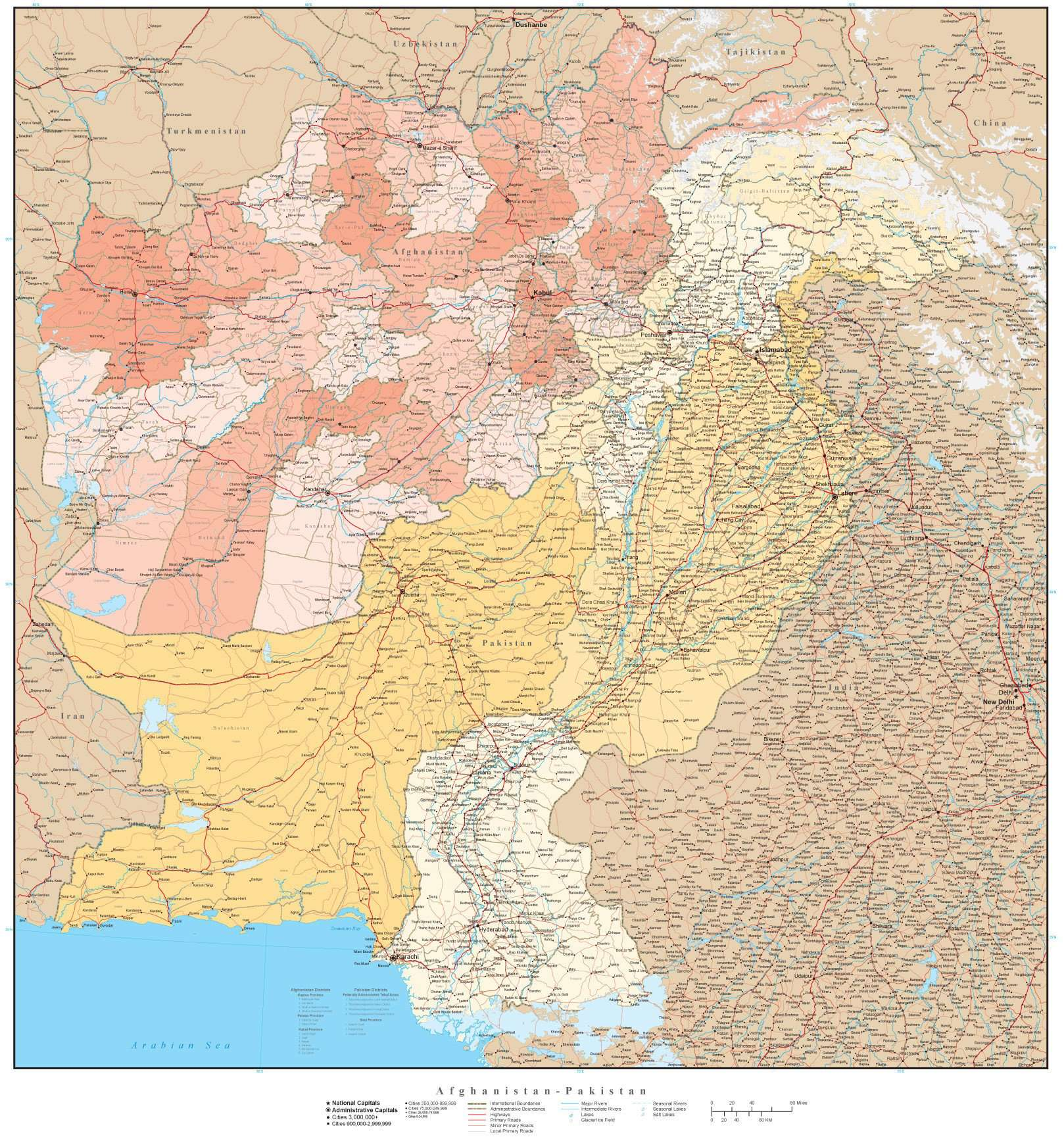 High Detail Afghanistan Pakistan Map with Provinces Districts