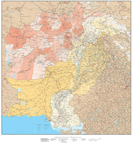 High Detail Afghanistan & Pakistan with Provinces & Districts Map - 22 inches by 24 inches