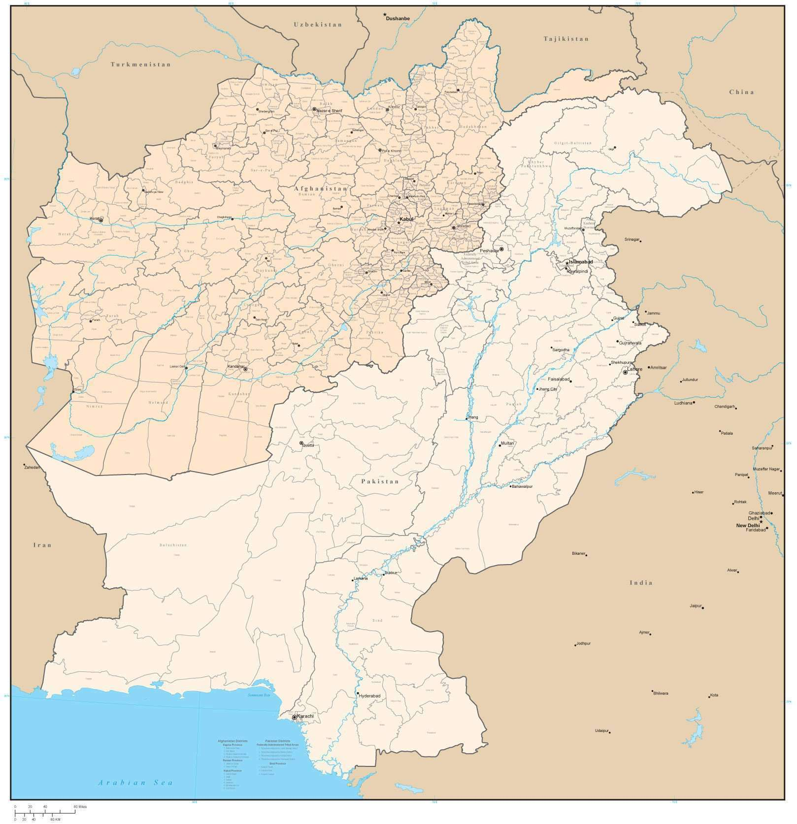 Afghanistan Pakistan Digital Vector Map with Provinces Districts