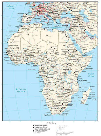 Africa Map with Country Boundaries, Capitals, Cities, Roads and Water Features