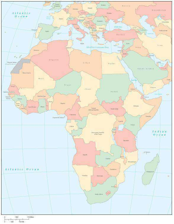 Africa Multi Color Map With Countries Map Resources