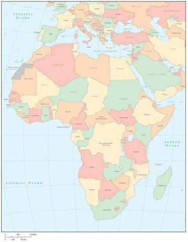 Africa Multi Color Map with Countries