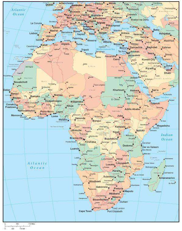 Multi Color Africa Map With Countries Major Cities Map Resources