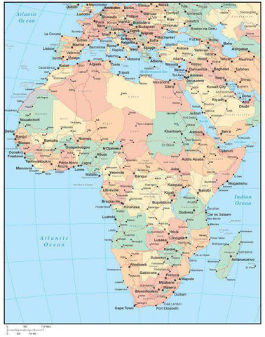 Multi Color Africa Map with Countries, Capitals, Major Cities and Water Features