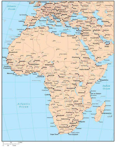 Single Color Africa Map with Countries, Capitals, Major Cities and Water Features