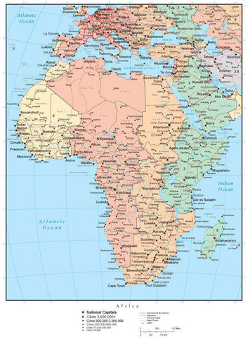 Africa Map with Time Zones