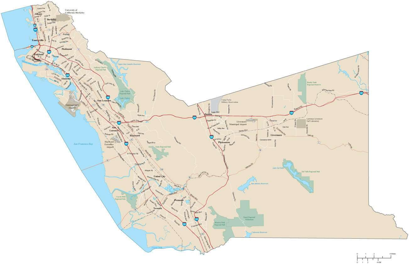 Alameda County California Map with Arterial and Major Roads Map