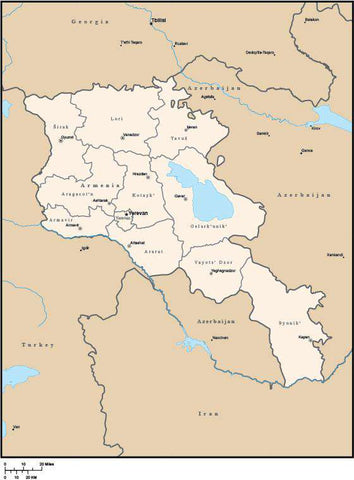 Armenia Digital Vector Map with Administrative Areas and Capitals