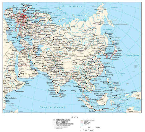 Asia Map with Country Borders, Cities, Roads and Water Features