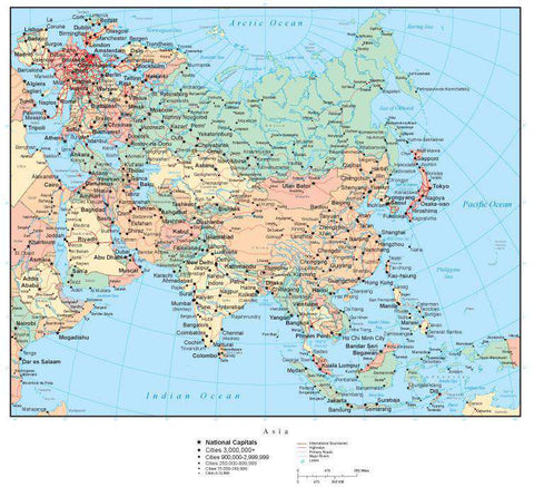 Asia Map with Countries, Capitals, Cities, Roads and Water Features