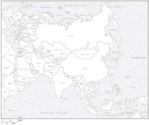 Digital Asia Map with Countries - Black & White