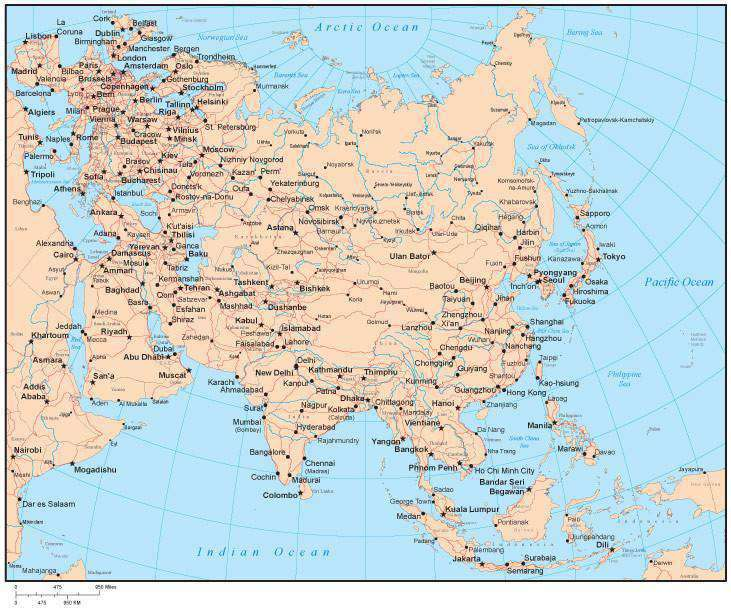 Map Of Asia By Country.Single Color Asia Map With Countries Capitals Major Cities And Water Features