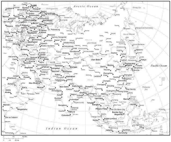 Black Map Of Asia.Black White Asia Map With Countries Capitals And Major Cities Asiaxx 533888