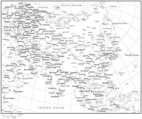 Black & White Asia Map with Countries, Capitals and Major Cities - ASIAXX-533888