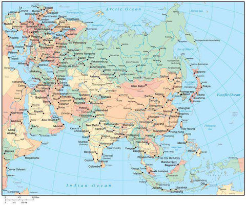 Multi Color Asia Map with Countries, Capitals, Major Cities and Water Features