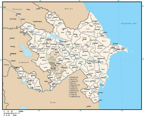 Azerbaijan Digital Vector Map with Administrative Areas and Capitals