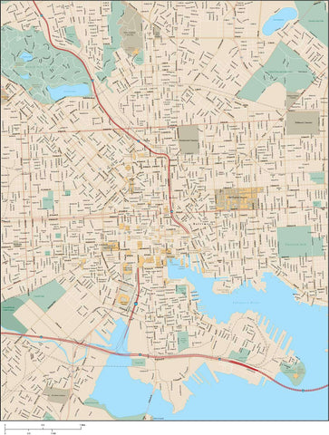 Baltimore MD Map - Greater Downtown Area - 23 square miles - with Local Streets