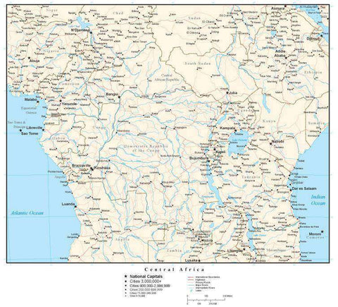 Central Africa Map with Country Boundaries, Capitals, Cities, Roads and Water Features