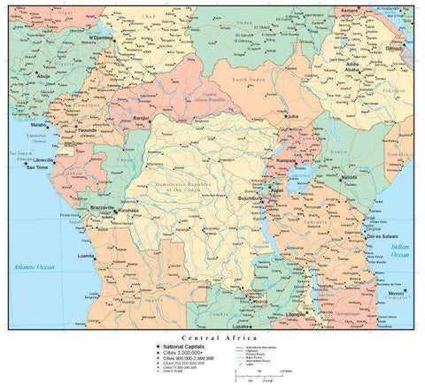 Central Africa Map with Countries, Capitals, Cities, Roads and Water Features