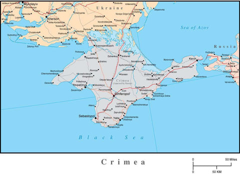 Crimean Peninsula (Ukraine) Adobe Illustrator Map from Map Resources