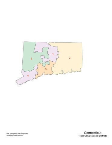 Connecticut Map with Congressional Districts