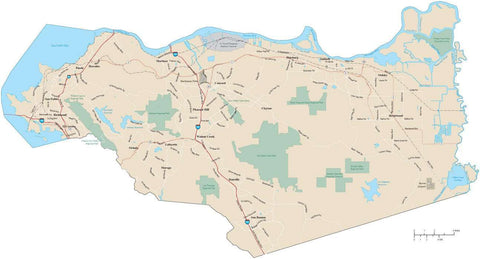 Contra Costa County  California Map with Arterial and Major Roads