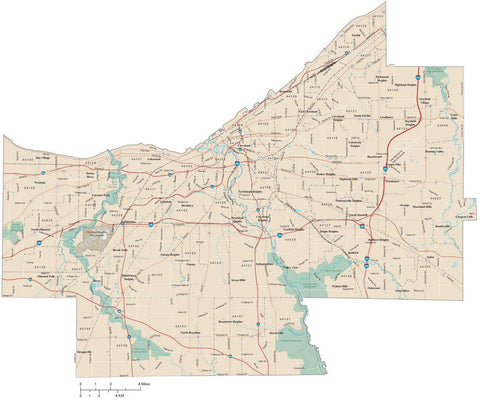 Cuyahoga County Ohio Map with 5 digit zip codes arterial and major road network