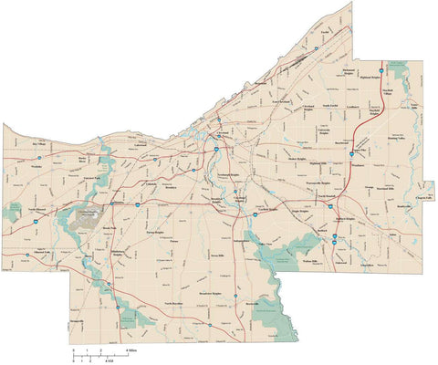 Cuyahoga County Ohio Map with arterial and major road network