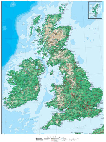 United Kingdom Map - 17 x 22 Inches - Land & Water Contours