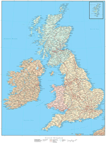 United Kingdom Map - 17 x 22 Inches - High Detail