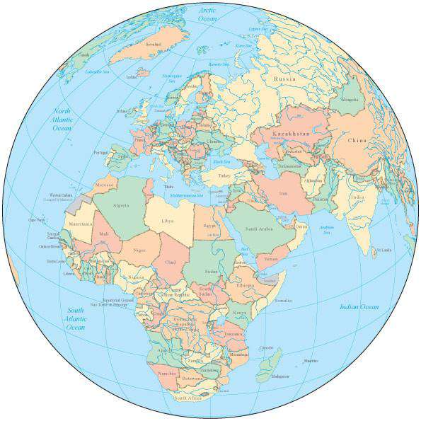Globe Over Africa Europe Map With Countries And Water Features - Globe map with countries